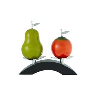 Artesana Home DW Pear Green and Orange Medium Sculpture on a Twin Bridge Stand