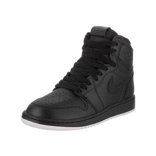 Nike Jordan Boys' Air Jordan 1 Retro High OG Bg Black Leather Basketball Shoe