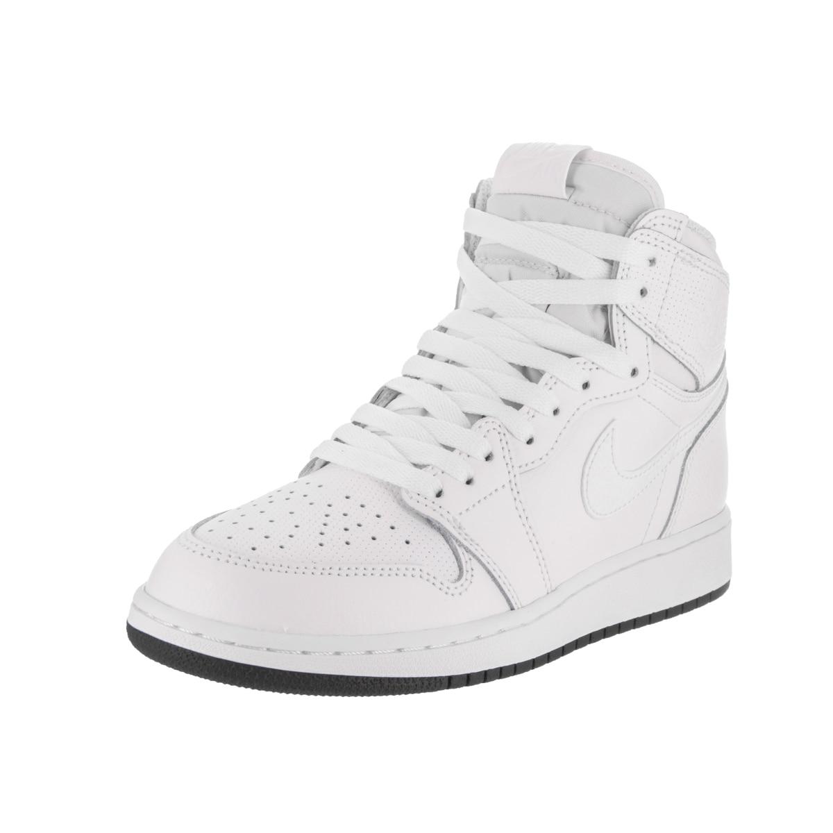 Nike Boys' Air Jordan 1 Retro High OG Bg White Leather Basketball Shoe (6)