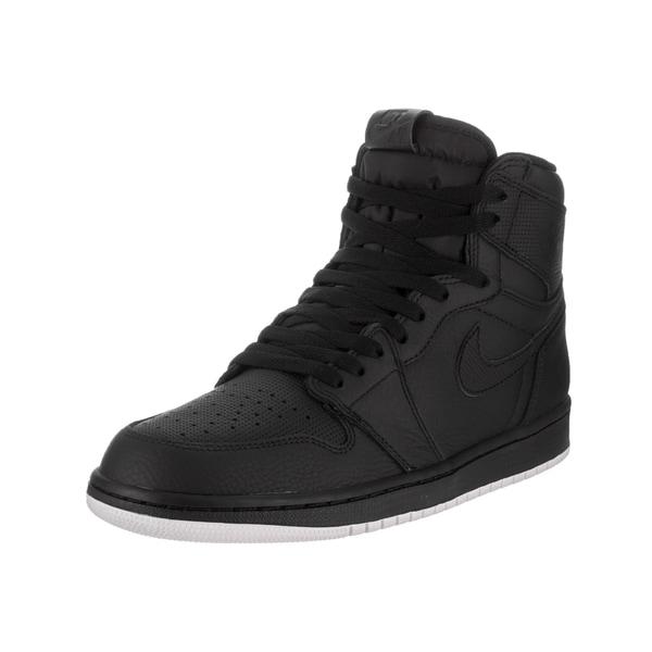 74f84c9442e7 Nike Jordan Men  x27 s Air Jordan 1 Retro High OG Black Leather Basketball.  Click to Zoom