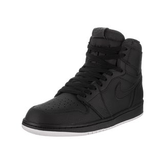 Nike Jordan Men's Air Jordan 1 Retro High OG Black Leather Basketball Shoes