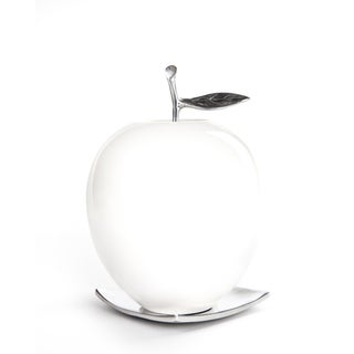 Artesana Home DW White Wood and Pewter Large Apple on Plate Figurine