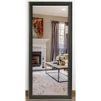 US Made Vintage Black Beveled Full Body Mirror - Black/Silver