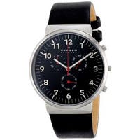 Skagen Men's Ancher Chronograph Black Dial Black Leather Watch