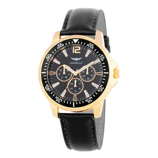 Gianello Men's Brown Leather Strap Multi-Function Divers Watch