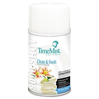 TimeMist 9000 Shot Metered Air Fresheners Clean N' Fresh 7.5-ounce Aerosol 4/Carton