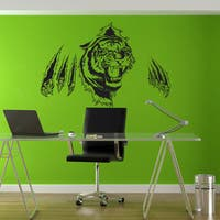 Full Color Tiger Huge Wall Sticker, Tiger Wall Decal, Wall Art, Tiger Wall Decor Sticker Decal size 44x60