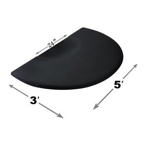 """3'x5' Salon Barber Chair Anti-Fatigue Floor Mat Circle 1/2"""" Thick - Black"""