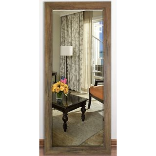 US Made Brown Barnwood Beveled Full Body Mirror