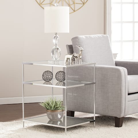 Silver Orchid Grant Glam Mirrored Side Table Chrome