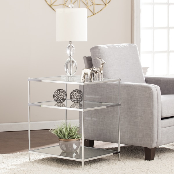 Silver Orchid Grant Glam Mirrored Side Table Chrome. Opens flyout.