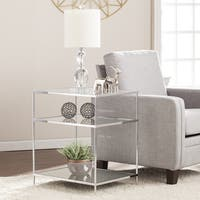 Silver Orchid Olivia Glam Mirrored Side Table Chrome