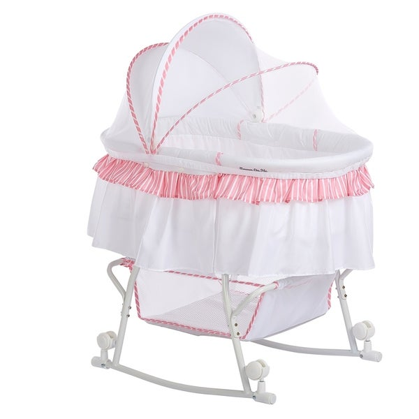 Dream On Me Lacy, Portable 2 in 1 Bassinet and Cradle in Pink and white. Opens flyout.
