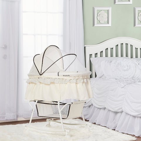 Dream On Me Lacy, Portable 2 in 1 Bassinet and Cradle in Green and White