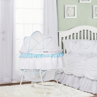 Dream on Me Blue and White Lacy Portable 2-in-1 Bassinet and Cradle