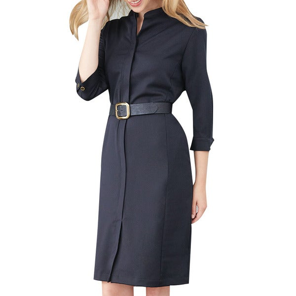 Affinity Apparel Belted Shirtwaist Dress with Mandarin Collar. Opens flyout.