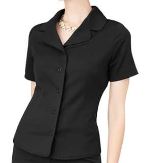 Affinity Apparel Women's Black Short-sleeve Blazer|https://ak1.ostkcdn.com/images/products/14356108/P20931894.jpg?impolicy=medium