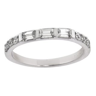 Eternally Haute Women's Solid Sterling Silver Baguette Cut Anniversary Ring