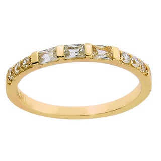 Eternally Haute 14k Gold-plated Solid Sterling Silver Baguette-cut Anniversary Ring