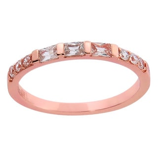 Eternally Haute 14K Rose Gold-plated Solid Sterling Silver Baguette-cut Anniversary Ring - Pink