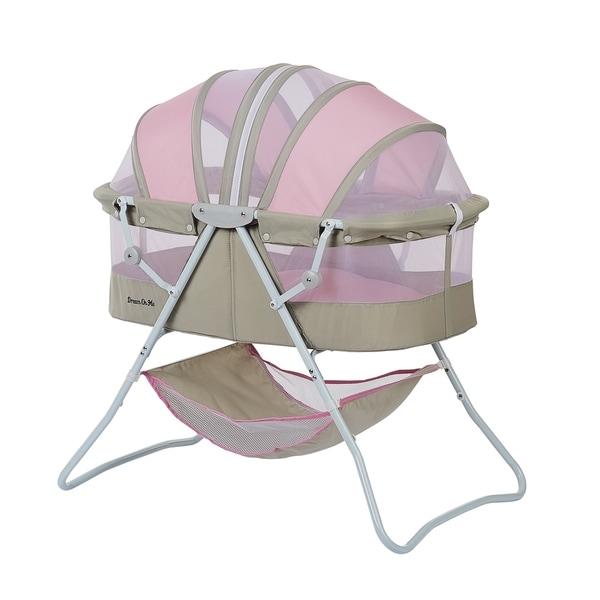 Dream on Me Karley Grey and Pink Plastic Bassinet