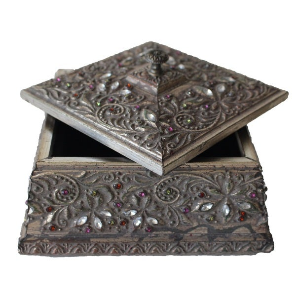 Jeco Multicolored Wood 7.1-inch Jeweled Storage Box