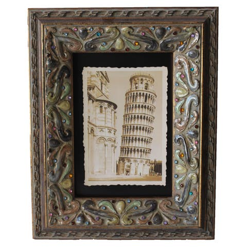 Jeco Brown Wood Stone Embellished 5 x 7 Photo Frame