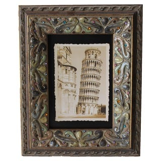 Jeco Brown Wood Stone Embellished 5 x 7 Photo Frame