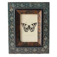 Jeco Blue and Brown Wood 4-inch x 6-inch Patterned Photo Frame