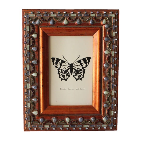 Jeco Brown Wood 4x6-inch Patterned Photo Frame