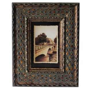Jeco Brown Wood 4-inch x 6-inch Patterned Photo Frame