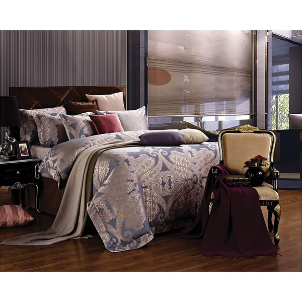 Dolce Mela Jacquard Damask Luxury 6 Piece Duvet Cover Set