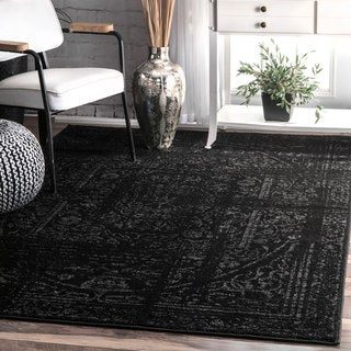 nuLOOM Vintage Distressed Ring Black Rug (4' x 6')