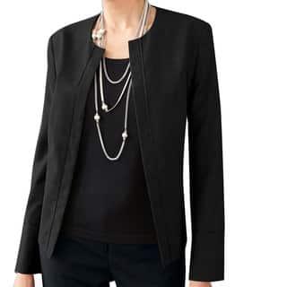 Affinity Apparel Women's Wool-blend Blazer (Option: Black)|https://ak1.ostkcdn.com/images/products/14356196/P20931953.jpg?impolicy=medium