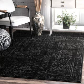 nuLOOM Vintage Distressed Ring Black Rug (8'2 x 11'6)|https://ak1.ostkcdn.com/images/products/14356200/P20931963.jpg?impolicy=medium