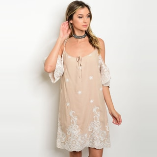 Shop The Trends Women's Short Sleeve Tunic Dress With Open Shoulders And Allover Crochet Detailes