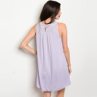 Shop The Trends Women's Sleeveless Tunic Dress With Crochet Neckline And Full Lining