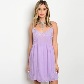 Shop The Trends Women's Spaghetti Strap Babydoll Dress With Empire Waist And Lace Details