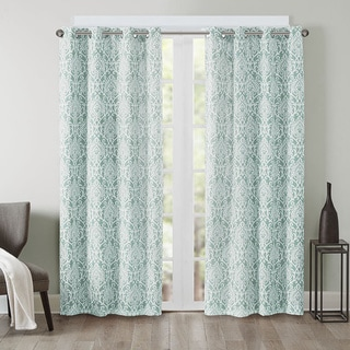 Madison Park Texture Damask Printed Curtain Panel with Blackout Lining in Grey (As Is Item)