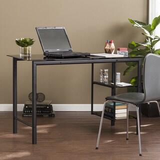 Porch & Den Bayonne Contemporary Metal & Glass Desk - Black w/ Smoky Glass