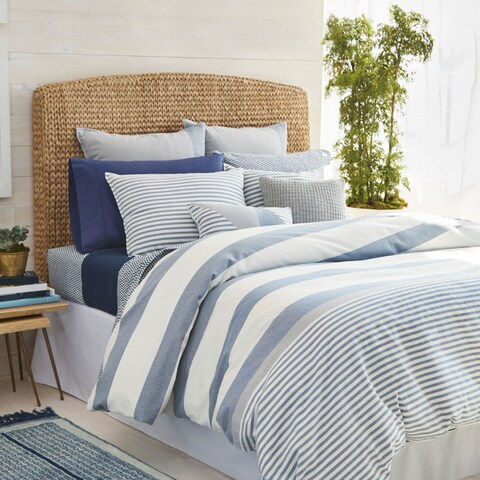 Nautica Fairwater Navy and White Nautical Striped Comforter Set