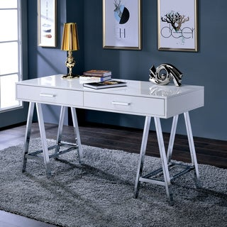 Furniture of America Worcher Modern High Gloss 2-drawer Angled Writing Desk
