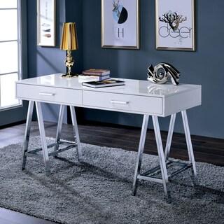 Furniture of America Worcher Modern High Gloss 2-drawer Angled Writing Desk