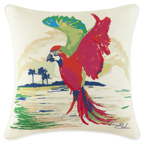 Shop Tommy Bahama Multicolor Cotton Parrot Decorative Throw Pillow Custom Multicolored Decorative Pillows