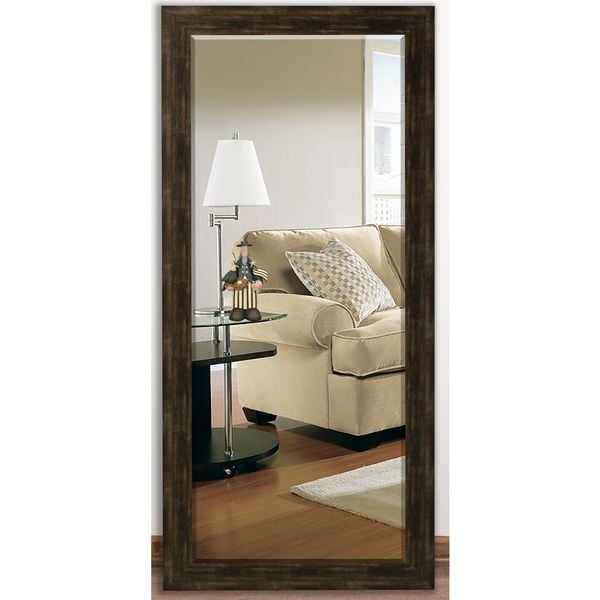 US Made Brushed Classic Brown Beveled Full Body Mirror