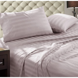 Luxury Egyptian Cotton Damask Stripe Thread 1000 Count 4 peice Sheet Set