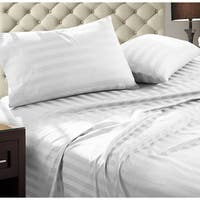 Luxury Egyptian Cotton Damask Stripe 1000 Thread Count 4 piece Sheet Set