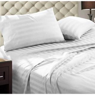 Luxury Egyptian Cotton Damask Stripe 1000 Thread Count 4 Piece Sheet Set