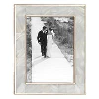Reed & Barton Rose Gold Metal and Mother of Pearl 5-inch x 7-inch Photo Frame