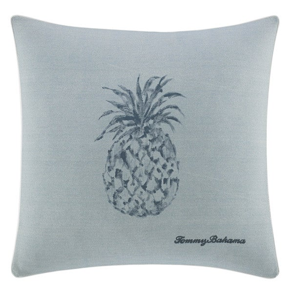 Tommy Bahama Blue Cotton Pineapple Decorative Throw Pillow